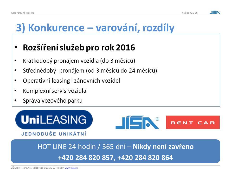 JÍŠA rent - car s.r.o., Kolčavka 68/1, 190 00 Praha 9, www.jisa.czwww.jisa.cz Operativní leasing Květen2016 Rozšíření služeb pro rok 2016 Krátkodobý pronájem vozidla (do 3 měsíců) Střednědobý pronájem (od 3 měsíců do 24 měsíců) Operativní leasing i zánovních vozidel Komplexní servis vozidla Správa vozového parku 3) Konkurence – varování, rozdíly HOT LINE 24 hodin / 365 dní – Nikdy není zavřeno +420 284 820 857, +420 284 820 864