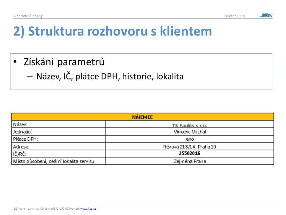 JÍŠA rent - car s.r.o., Kolčavka 68/1, 190 00 Praha 9, www.jisa.czwww.jisa.cz Operativní leasing Květen2016 2) Struktura rozhovoru s klientem Získání