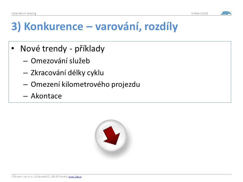 JÍŠA rent - car s.r.o., Kolčavka 68/1, 190 00 Praha 9, www.jisa.czwww.jisa.cz Operativní leasing Květen2016 3) Konkurence – varování, rozdíly Nové tre
