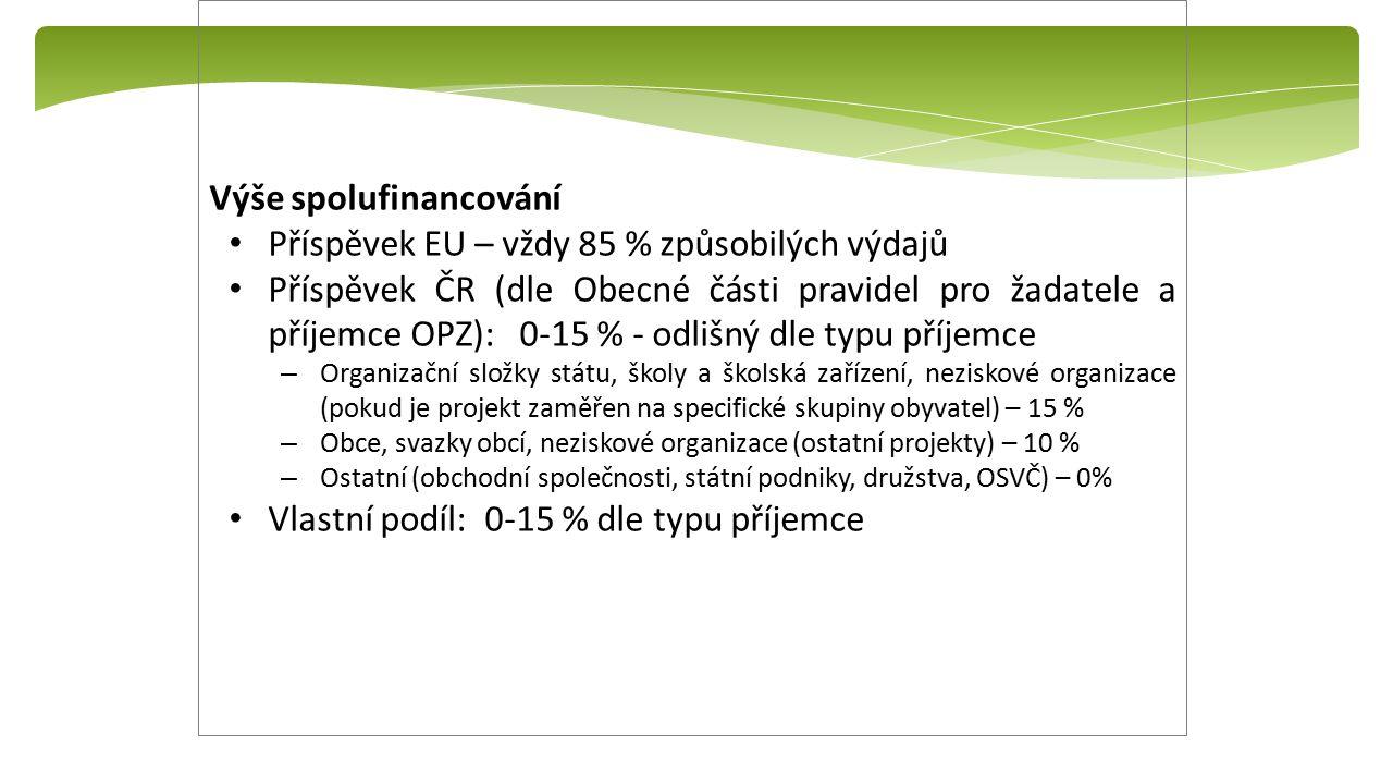 Výše spolufinancování Příspěvek EU – vždy 85 % způsobilých výdajů Příspěvek ČR (dle Obecné části pravidel pro žadatele a příjemce OPZ): 0-15 % - odlišný dle typu příjemce – Organizační složky státu, školy a školská zařízení, neziskové organizace (pokud je projekt zaměřen na specifické skupiny obyvatel) – 15 % – Obce, svazky obcí, neziskové organizace (ostatní projekty) – 10 % – Ostatní (obchodní společnosti, státní podniky, družstva, OSVČ) – 0% Vlastní podíl: 0-15 % dle typu příjemce
