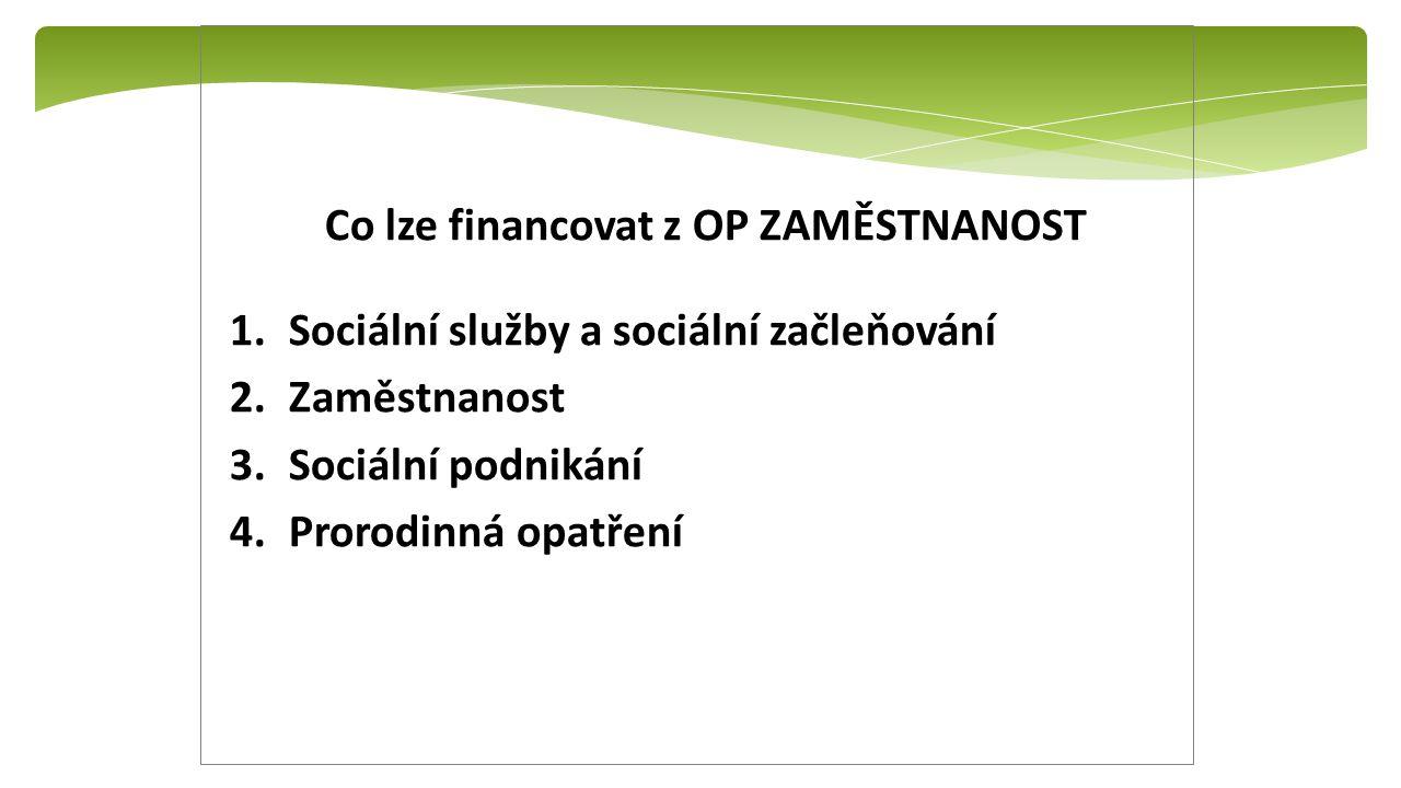 Co lze financovat z OP ZAMĚSTNANOST 1.Sociální služby a sociální začleňování 2.Zaměstnanost 3.Sociální podnikání 4.Prorodinná opatření