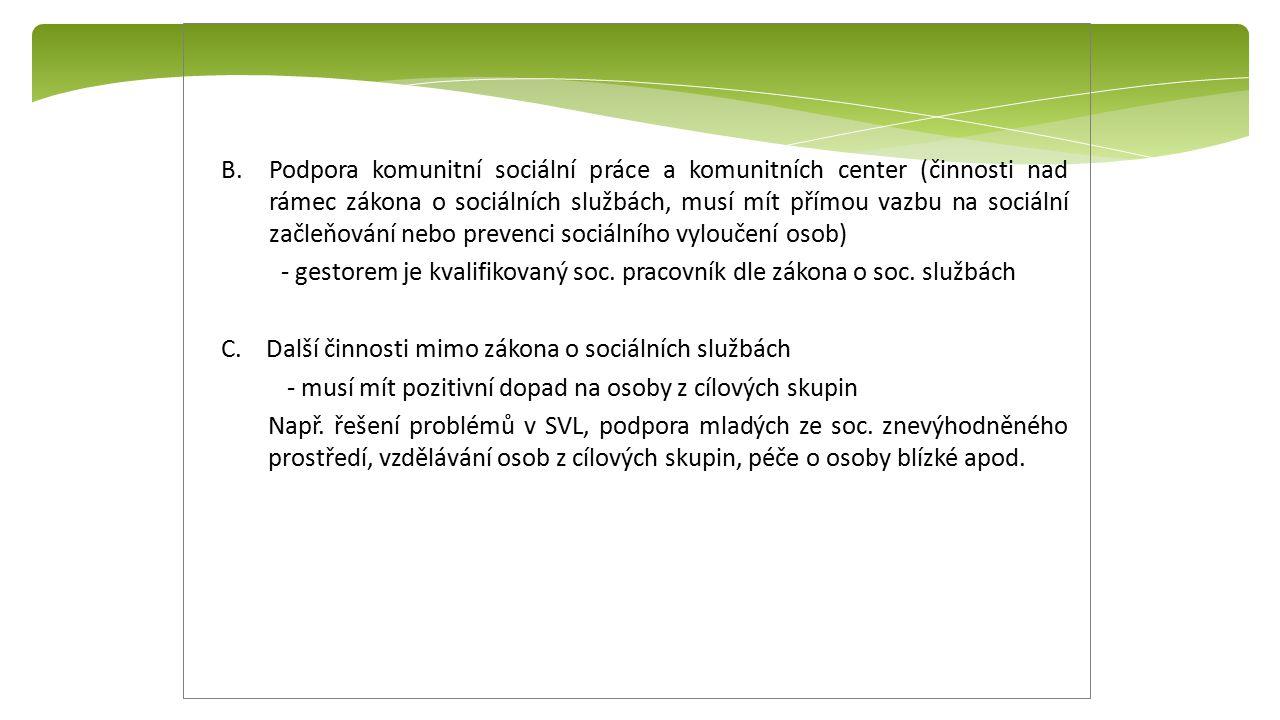 B.Podpora komunitní sociální práce a komunitních center (činnosti nad rámec zákona o sociálních službách, musí mít přímou vazbu na sociální začleňován
