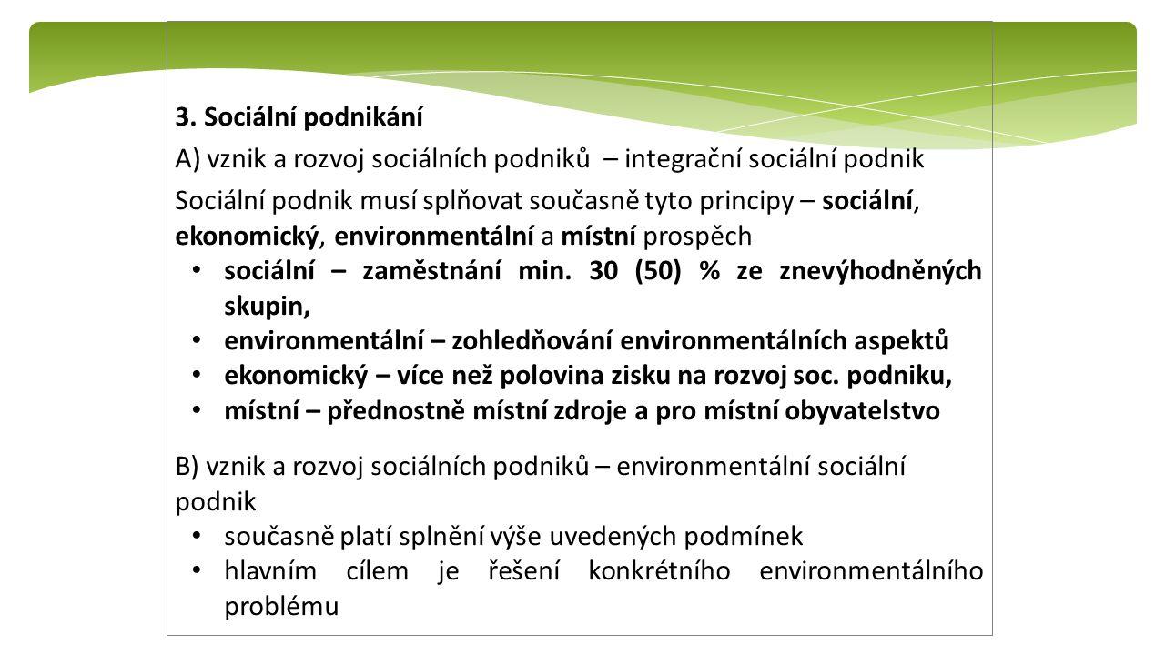3. Sociální podnikání A) vznik a rozvoj sociálních podniků – integrační sociální podnik Sociální podnik musí splňovat současně tyto principy – sociáln