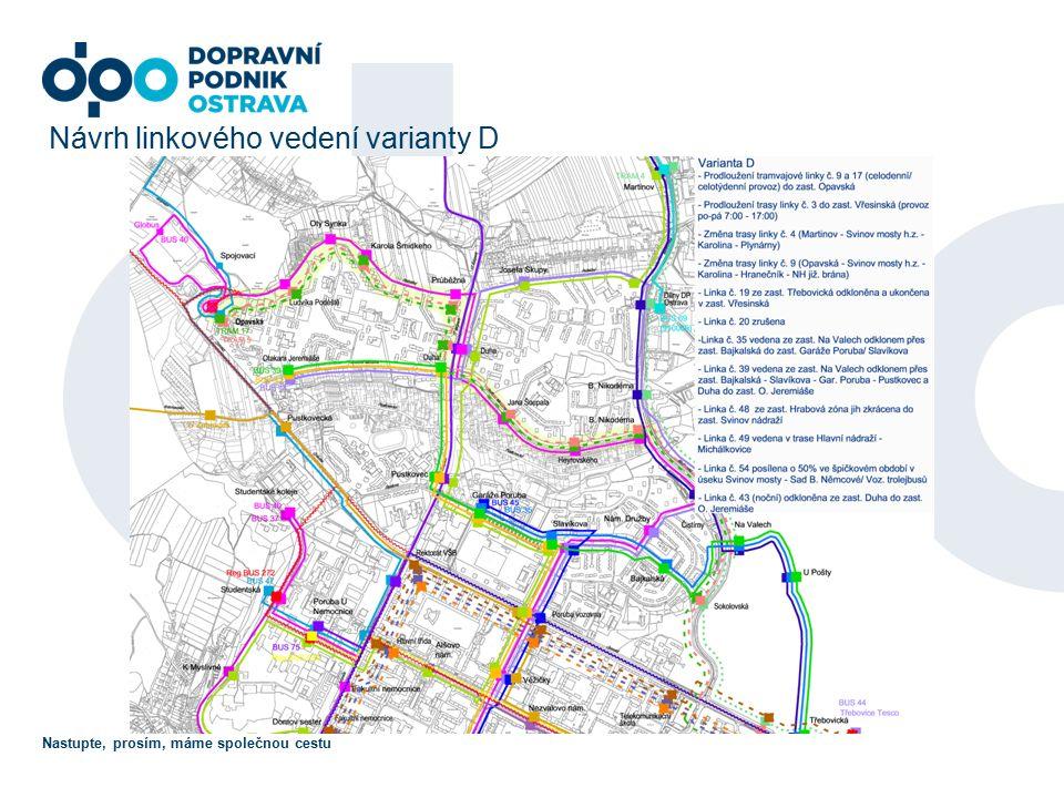 Nastupte, prosím, máme společnou cestu Návrh linkového vedení varianty D