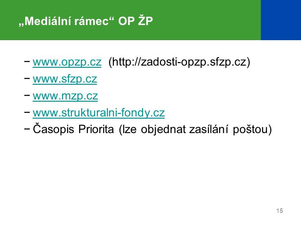 """15 """"Mediální rámec OP ŽP −www.opzp.cz (http://zadosti-opzp.sfzp.cz)www.opzp.cz −www.sfzp.czwww.sfzp.cz −www.mzp.czwww.mzp.cz −www.strukturalni-fondy.czwww.strukturalni-fondy.cz −Časopis Priorita (lze objednat zasílání poštou)"""