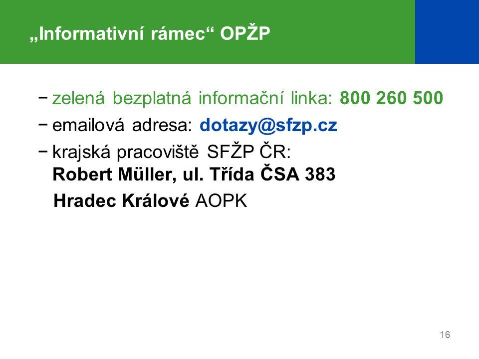 """16 """"Informativní rámec"""" OPŽP −zelená bezplatná informační linka: 800 260 500 −emailová adresa: dotazy@sfzp.cz −krajská pracoviště SFŽP ČR: Robert Müll"""