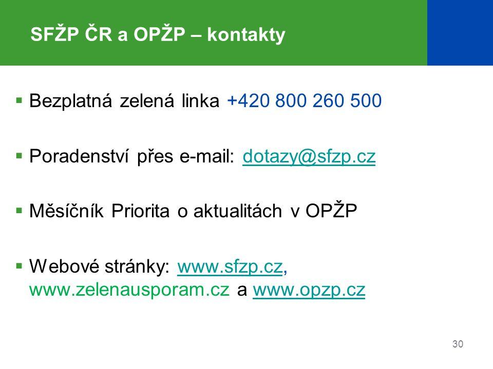 30 SFŽP ČR a OPŽP – kontakty  Bezplatná zelená linka +420 800 260 500  Poradenství přes e-mail: dotazy@sfzp.czdotazy@sfzp.cz  Měsíčník Priorita o aktualitách v OPŽP  Webové stránky: www.sfzp.cz, www.zelenausporam.cz a www.opzp.czwww.sfzp.czwww.opzp.cz