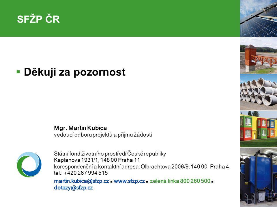 31  Děkuji za pozornost Mgr. Martin Kubica vedoucí odboru projektů a příjmu žádostí Státní fond životního prostředí České republiky Kaplanova 1931/1,