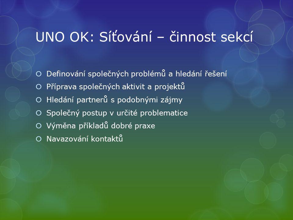 UNO OK: Síťování – činnost sekcí  Definování společných problémů a hledání řešení  Příprava společných aktivit a projektů  Hledání partnerů s podobnými zájmy  Společný postup v určité problematice  Výměna příkladů dobré praxe  Navazování kontaktů