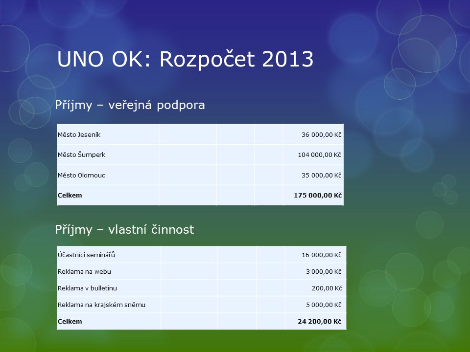 UNO OK: Rozpočet 2013 Příjmy – veřejná podpora Příjmy – vlastní činnost Město Jeseník 36 000,00 Kč Město Šumperk 104 000,00 Kč Město Olomouc 35 000,00
