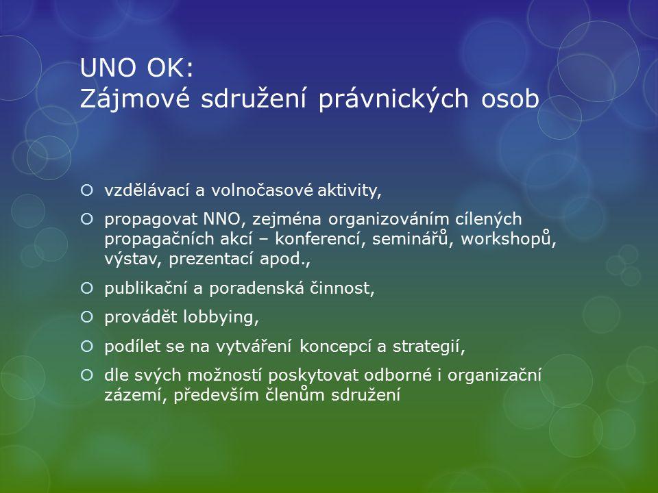 UNO OK: Zájmové sdružení právnických osob  vzdělávací a volnočasové aktivity,  propagovat NNO, zejména organizováním cílených propagačních akcí – konferencí, seminářů, workshopů, výstav, prezentací apod.,  publikační a poradenská činnost,  provádět lobbying,  podílet se na vytváření koncepcí a strategií,  dle svých možností poskytovat odborné i organizační zázemí, především členům sdružení