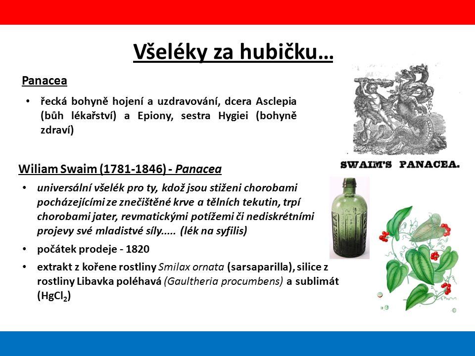 Všeléky za hubičku… Panacea řecká bohyně hojení a uzdravování, dcera Asclepia (bůh lékařství) a Epiony, sestra Hygiei (bohyně zdraví) Wiliam Swaim (1781-1846) - Panacea universální všelék pro ty, kdož jsou stiženi chorobami pocházejícími ze znečištěné krve a tělních tekutin, trpí chorobami jater, revmatickými potížemi či nediskrétními projevy své mladistvé síly.....