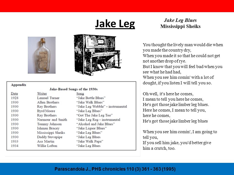 Jake Leg Parascandola J., PHS chronicles 110 (3) 361 - 363 (1995) Jake Leg Blues Mississippi Sheiks You thought the lively man would die when you made