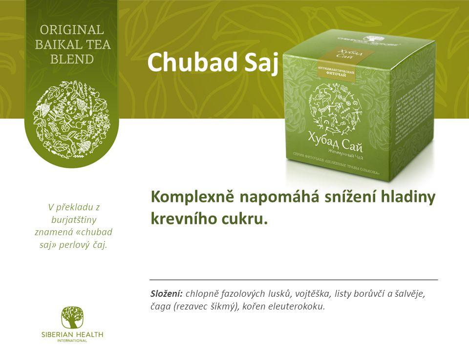 Chubad Saj Složení: chlopně fazolových lusků, vojtěška, listy borůvčí a šalvěje, čaga (rezavec šikmý), kořen eleuterokoku.