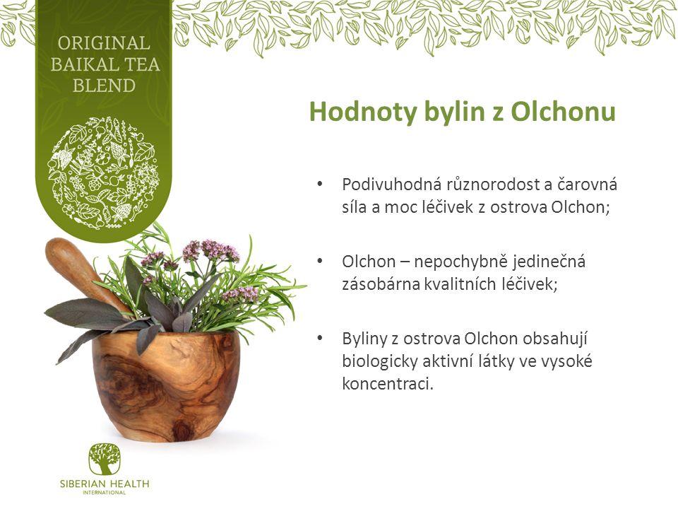 Hodnoty bylin z Olchonu Podivuhodná různorodost a čarovná síla a moc léčivek z ostrova Olchon; Olchon – nepochybně jedinečná zásobárna kvalitních léčivek; Byliny z ostrova Olchon obsahují biologicky aktivní látky ve vysoké koncentraci.