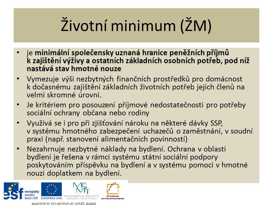 Životní minimum (ŽM) je minimální společensky uznaná hranice peněžních příjmů k zajištění výživy a ostatních základních osobních potřeb, pod níž nastává stav hmotné nouze Vymezuje výši nezbytných finančních prostředků pro domácnost k dočasnému zajištění základních životních potřeb jejích členů na velmi skromné úrovni.