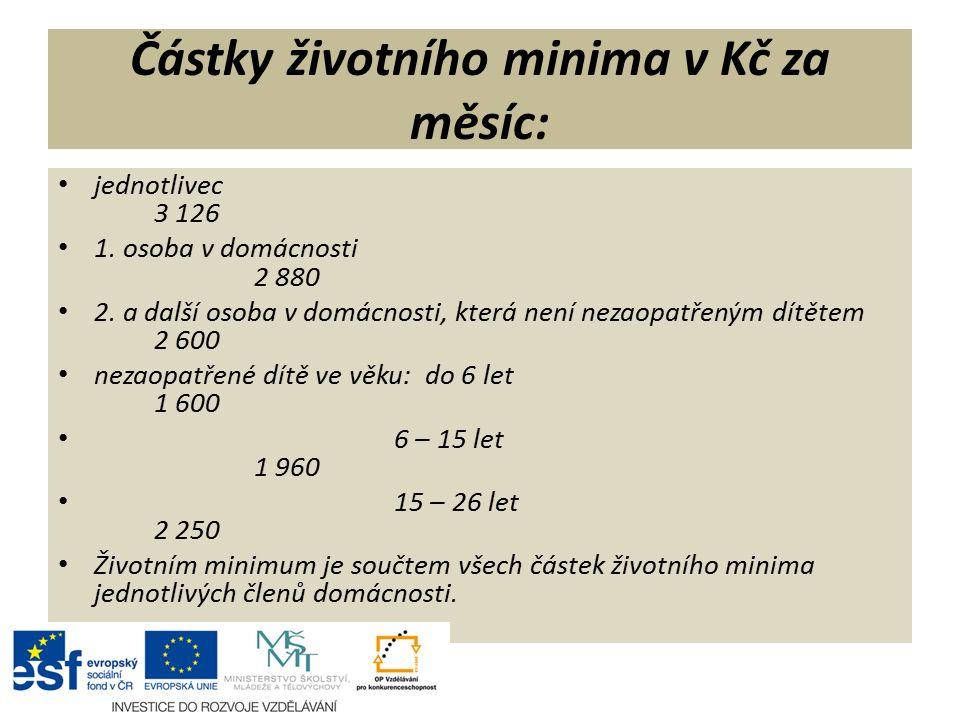 Částky životního minima v Kč za měsíc: jednotlivec 3 126 1.