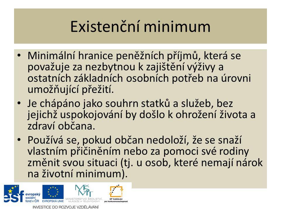Existenční minimum Minimální hranice peněžních příjmů, která se považuje za nezbytnou k zajištění výživy a ostatních základních osobních potřeb na úrovni umožňující přežití.