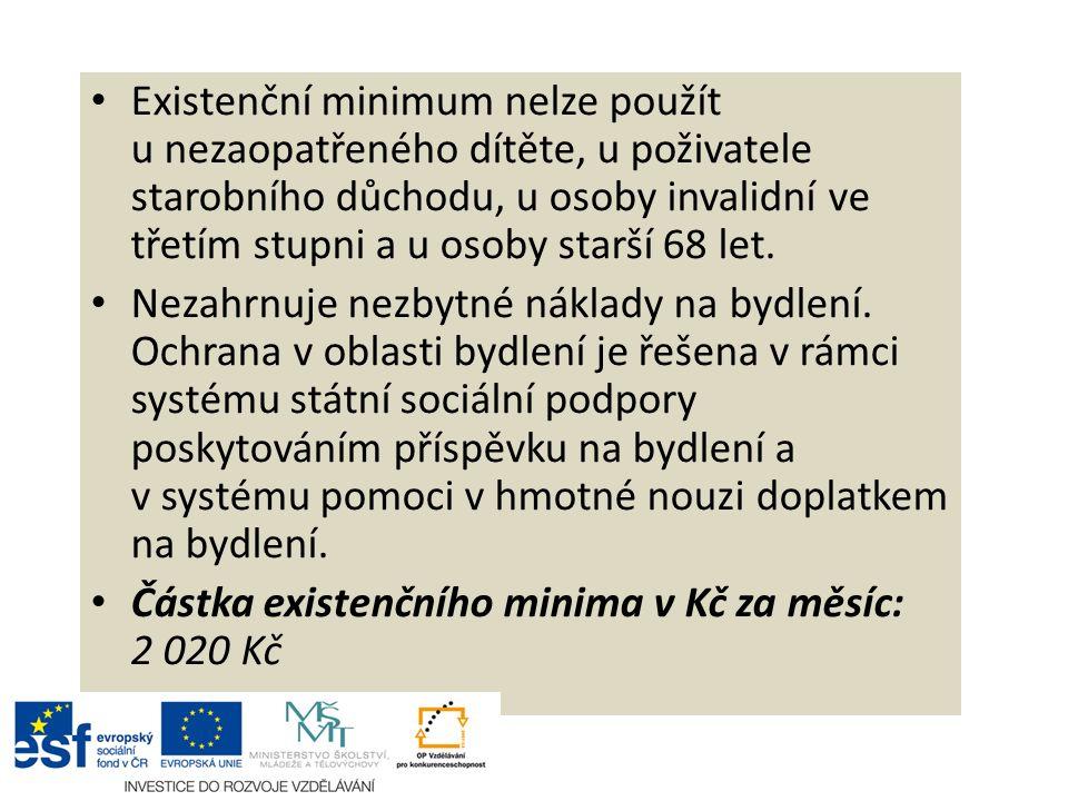 Existenční minimum nelze použít u nezaopatřeného dítěte, u poživatele starobního důchodu, u osoby invalidní ve třetím stupni a u osoby starší 68 let.