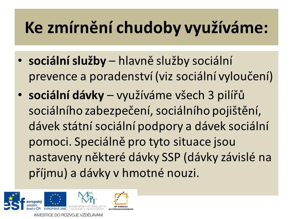 Ke zmírnění chudoby využíváme: sociální služby – hlavně služby sociální prevence a poradenství (viz sociální vyloučení) sociální dávky – využíváme všech 3 pilířů sociálního zabezpečení, sociálního pojištění, dávek státní sociální podpory a dávek sociální pomoci.