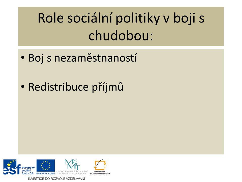 Role sociální politiky v boji s chudobou: Boj s nezaměstnaností Redistribuce příjmů
