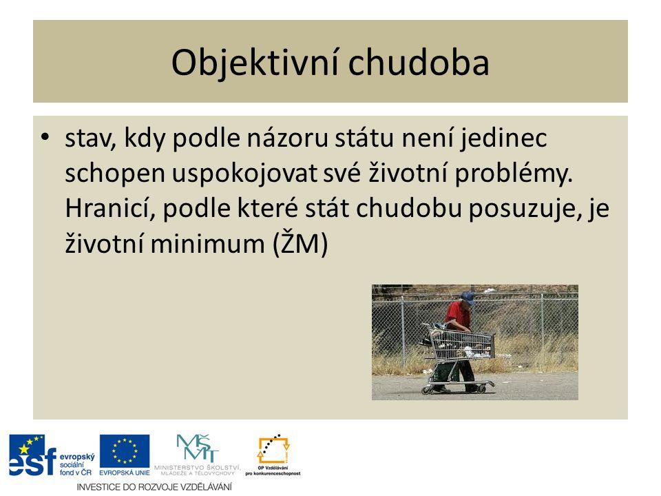 Objektivní chudoba stav, kdy podle názoru státu není jedinec schopen uspokojovat své životní problémy.