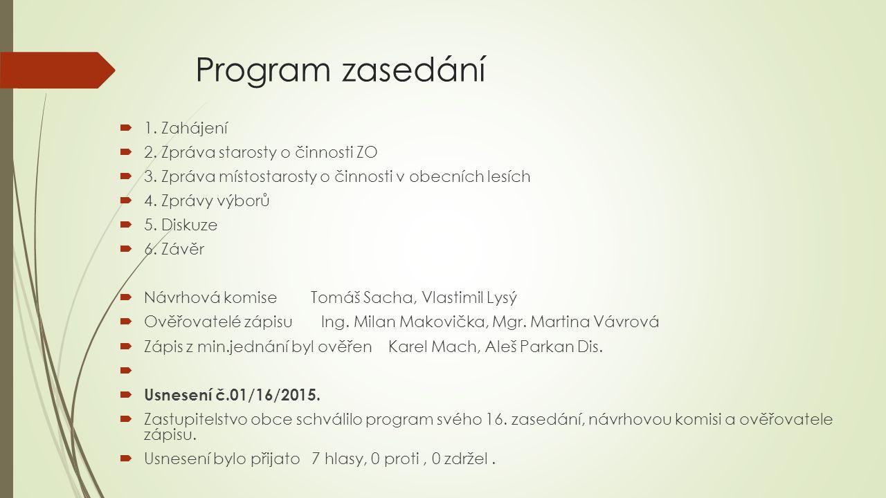 Program zasedání  1. Zahájení  2. Zpráva starosty o činnosti ZO  3.