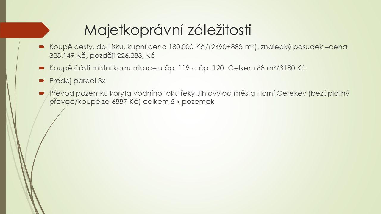 Majetkoprávní záležitosti  Koupě cesty, do Lísku, kupní cena 180.000 Kč/(2490+883 m 2 ), znalecký posudek –cena 328.149 Kč, později 226.283,-Kč  Koupě části místní komunikace u čp.