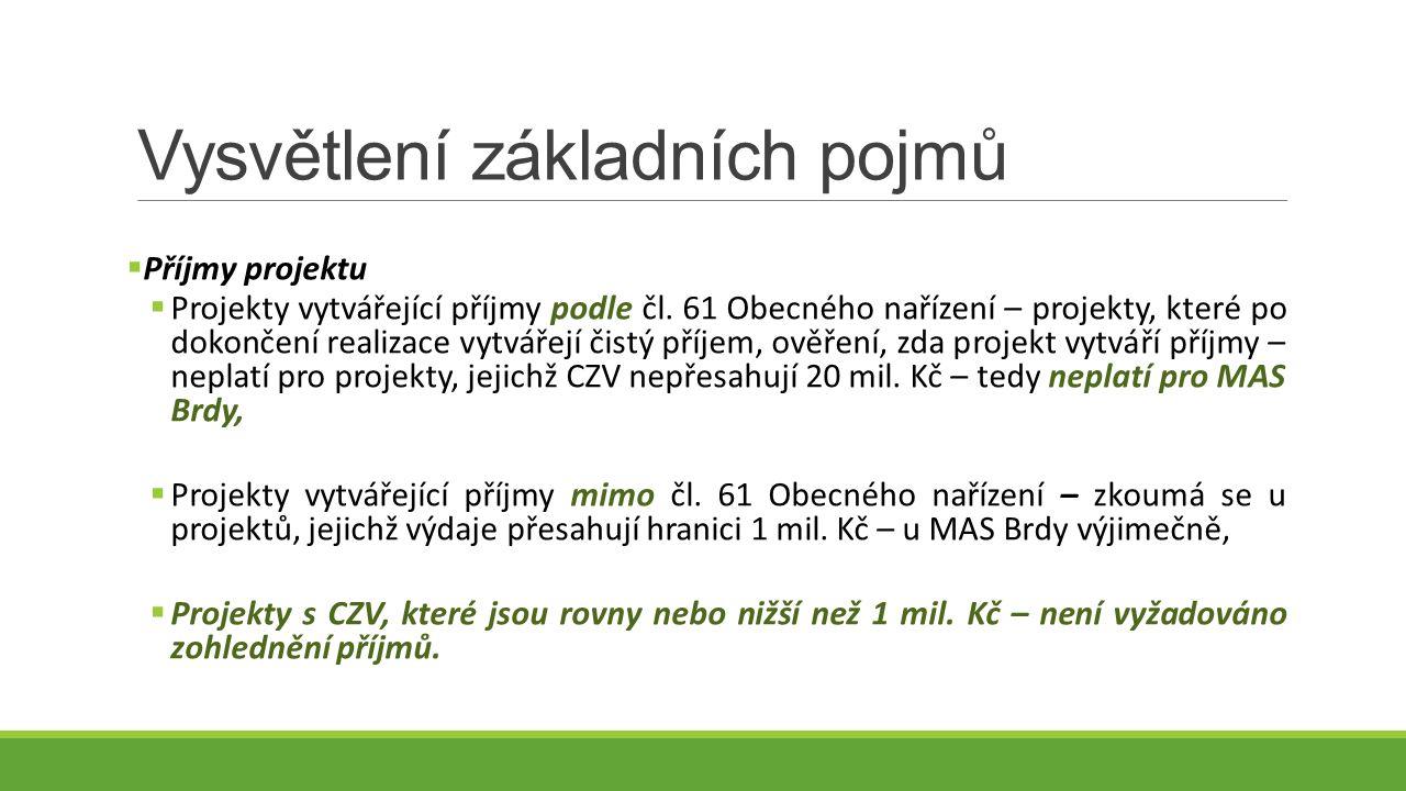 Vysvětlení základních pojmů  Příjmy projektu  Projekty vytvářející příjmy podle čl.