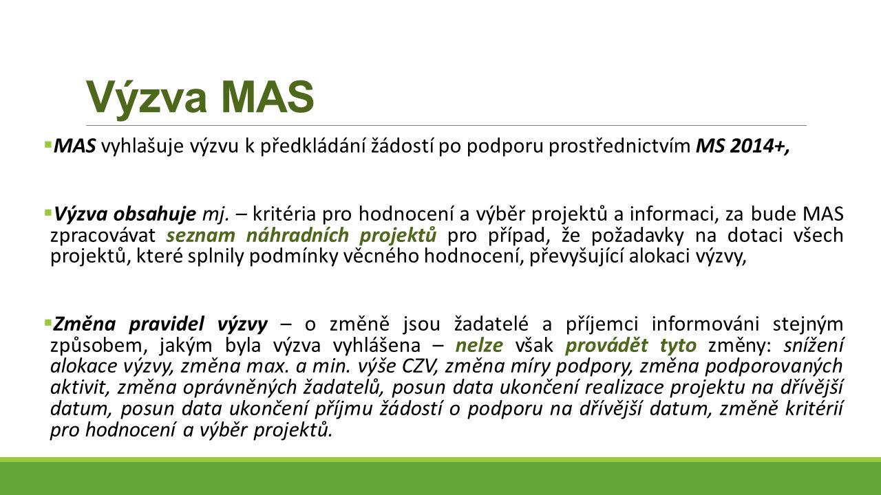 Výzva MAS  MAS vyhlašuje výzvu k předkládání žádostí po podporu prostřednictvím MS 2014+,  Výzva obsahuje mj.