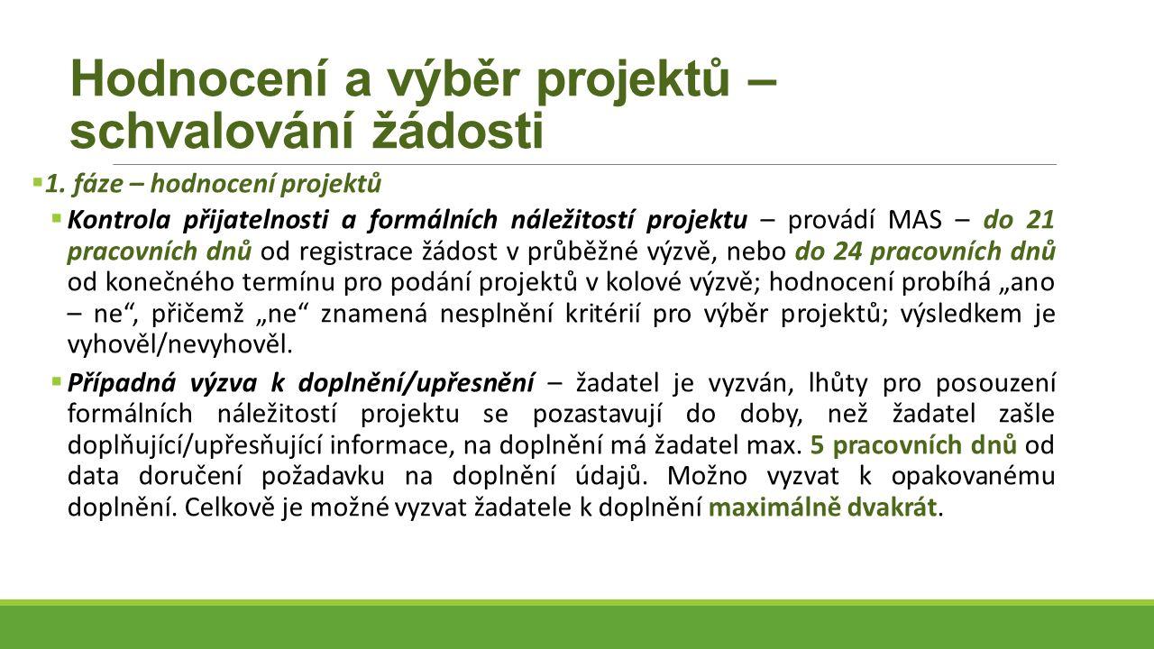 Hodnocení a výběr projektů – schvalování žádosti  1.