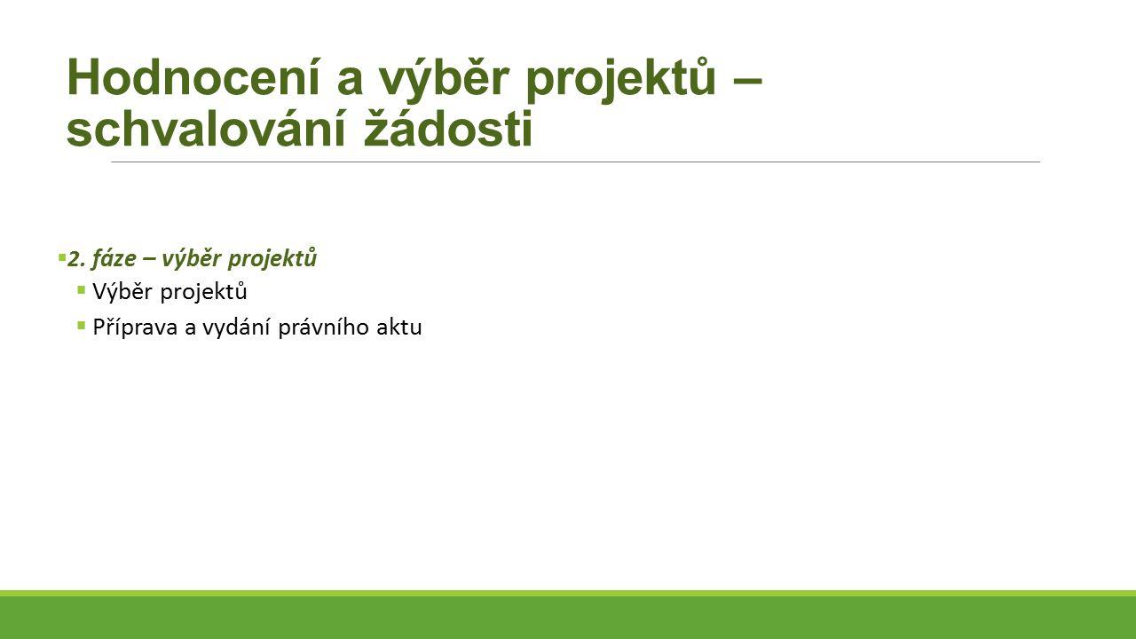 Hodnocení a výběr projektů – schvalování žádosti  2.