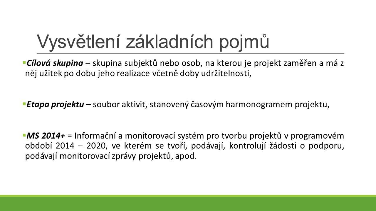 Vysvětlení základních pojmů  Cílová skupina – skupina subjektů nebo osob, na kterou je projekt zaměřen a má z něj užitek po dobu jeho realizace včetně doby udržitelnosti,  Etapa projektu – soubor aktivit, stanovený časovým harmonogramem projektu,  MS 2014+ = Informační a monitorovací systém pro tvorbu projektů v programovém období 2014 – 2020, ve kterém se tvoří, podávají, kontrolují žádosti o podporu, podávají monitorovací zprávy projektů, apod.