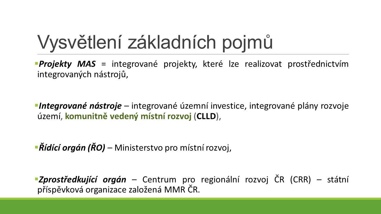 Vysvětlení základních pojmů  Projekty MAS = integrované projekty, které lze realizovat prostřednictvím integrovaných nástrojů,  Integrované nástroje – integrované územní investice, integrované plány rozvoje území, komunitně vedený místní rozvoj (CLLD),  Řídící orgán (ŘO) – Ministerstvo pro místní rozvoj,  Zprostředkující orgán – Centrum pro regionální rozvoj ČR (CRR) – státní příspěvková organizace založená MMR ČR.