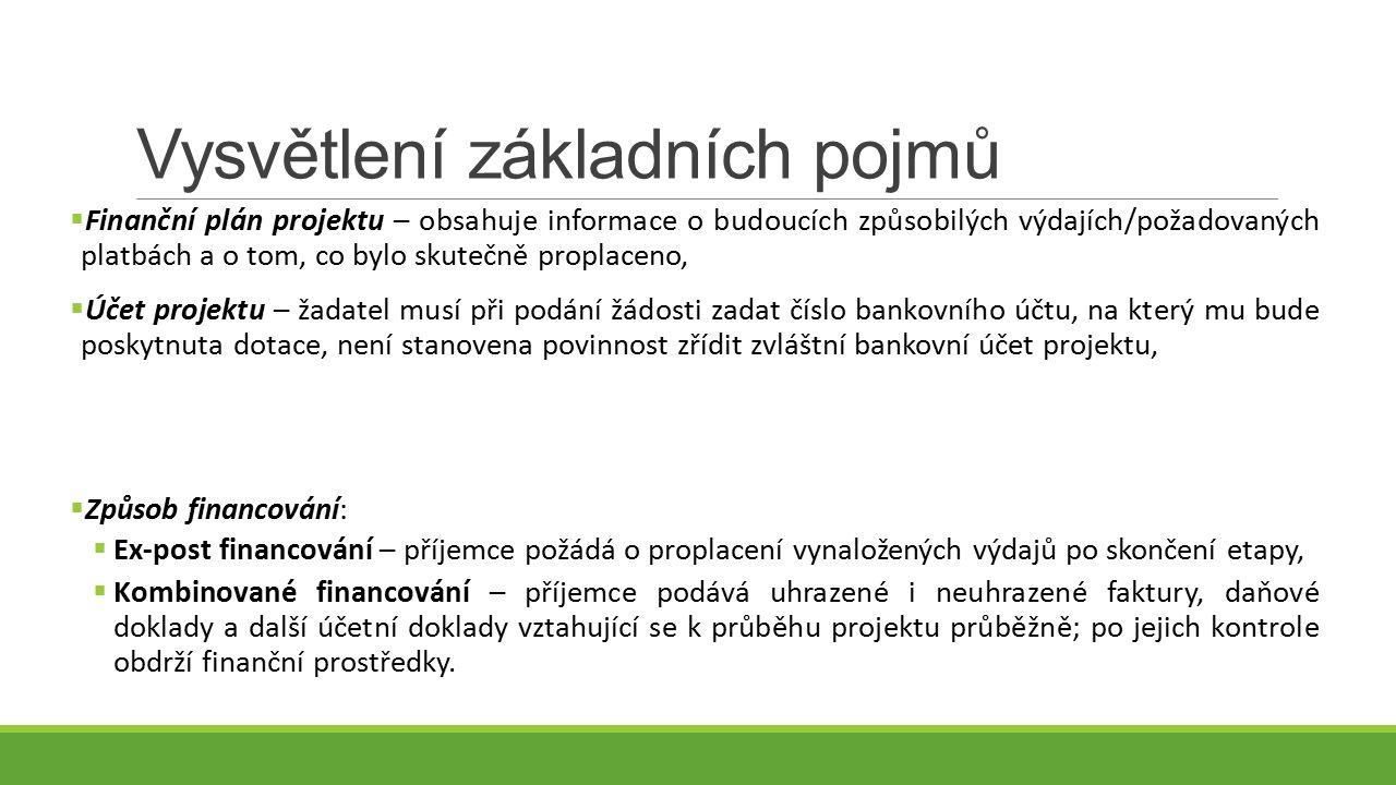 Vysvětlení základních pojmů  Finanční plán projektu – obsahuje informace o budoucích způsobilých výdajích/požadovaných platbách a o tom, co bylo skutečně proplaceno,  Účet projektu – žadatel musí při podání žádosti zadat číslo bankovního účtu, na který mu bude poskytnuta dotace, není stanovena povinnost zřídit zvláštní bankovní účet projektu,  Způsob financování:  Ex-post financování – příjemce požádá o proplacení vynaložených výdajů po skončení etapy,  Kombinované financování – příjemce podává uhrazené i neuhrazené faktury, daňové doklady a další účetní doklady vztahující se k průběhu projektu průběžně; po jejich kontrole obdrží finanční prostředky.