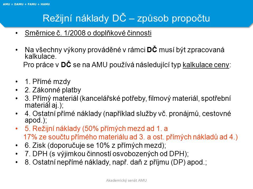 Akademický senát AMU Režijní náklady DČ – způsob propočtu Směrnice č.