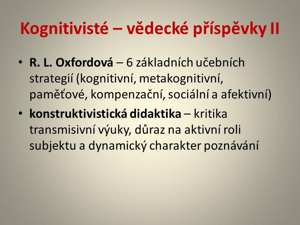 Kognitivisté – vědecké příspěvky II R. L.