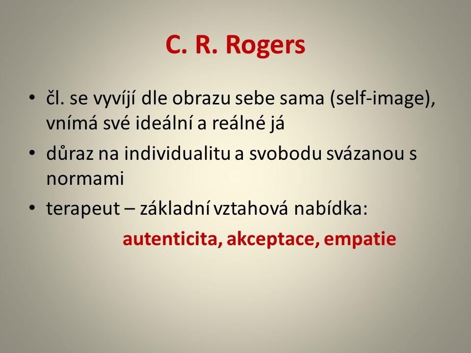 C. R. Rogers čl. se vyvíjí dle obrazu sebe sama (self-image), vnímá své ideální a reálné já důraz na individualitu a svobodu svázanou s normami terape