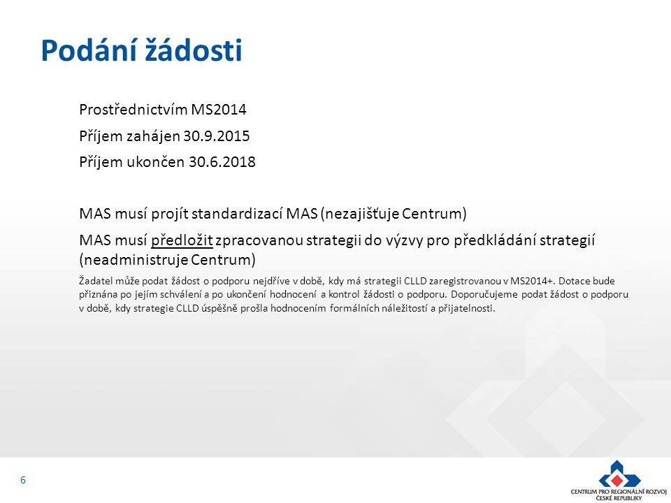 Prostřednictvím MS2014 Příjem zahájen 30.9.2015 Příjem ukončen 30.6.2018 MAS musí projít standardizací MAS (nezajišťuje Centrum) MAS musí předložit zpracovanou strategii do výzvy pro předkládání strategií (neadministruje Centrum) Žadatel může podat žádost o podporu nejdříve v době, kdy má strategii CLLD zaregistrovanou v MS2014+.