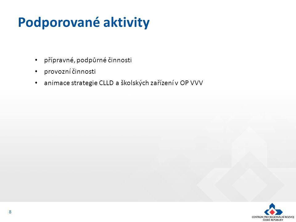 přípravné, podpůrné činnosti provozní činnosti animace strategie CLLD a školských zařízení v OP VVV Podporované aktivity 8