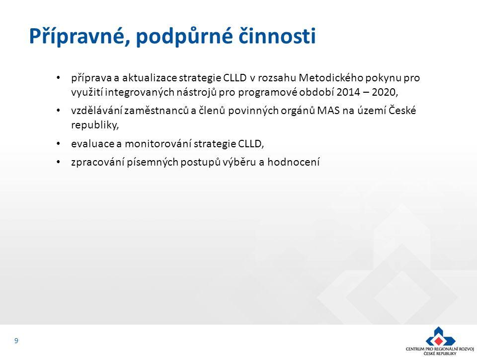 příprava a aktualizace strategie CLLD v rozsahu Metodického pokynu pro využití integrovaných nástrojů pro programové období 2014 – 2020, vzdělávání zaměstnanců a členů povinných orgánů MAS na území České republiky, evaluace a monitorování strategie CLLD, zpracování písemných postupů výběru a hodnocení Přípravné, podpůrné činnosti 9