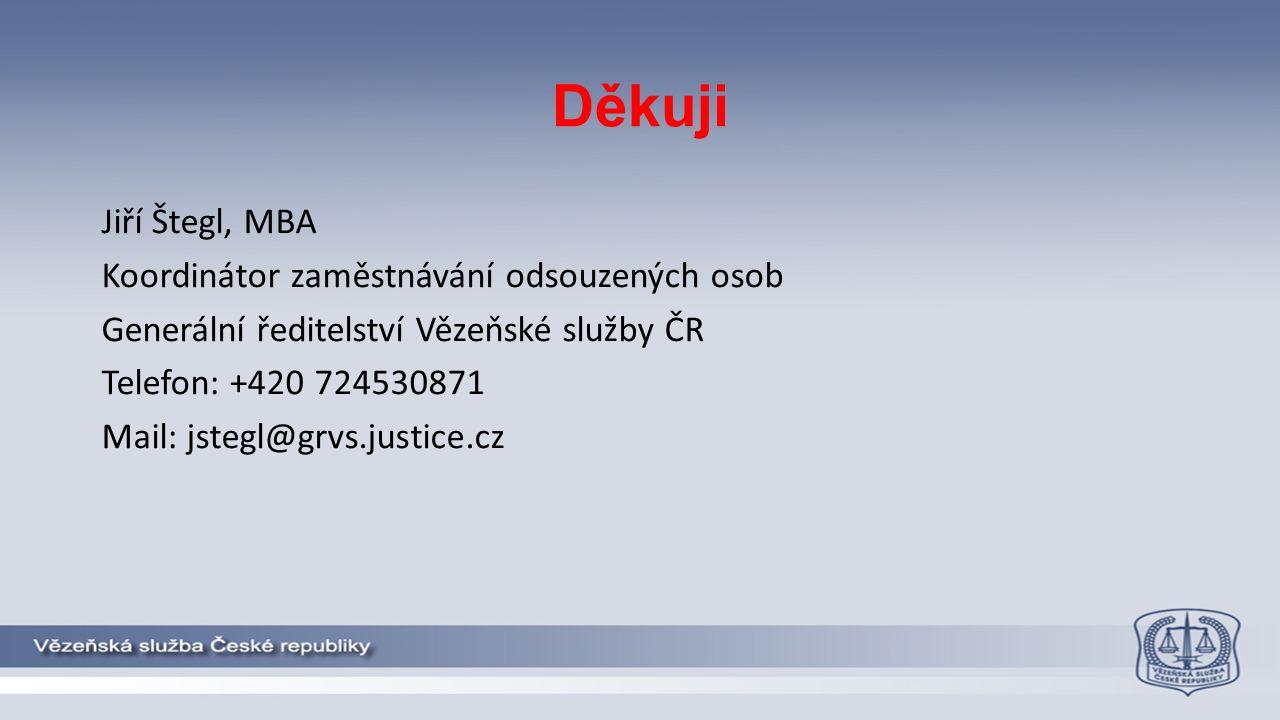 Děkuji Jiří Štegl, MBA Koordinátor zaměstnávání odsouzených osob Generální ředitelství Vězeňské služby ČR Telefon: +420 724530871 Mail: jstegl@grvs.justice.cz