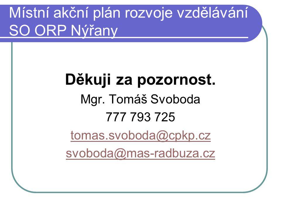 Místní akční plán rozvoje vzdělávání SO ORP Nýřany Děkuji za pozornost.