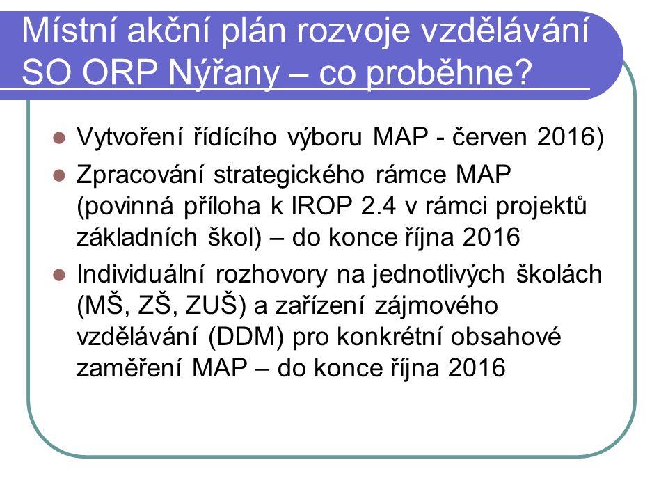 Místní akční plán rozvoje vzdělávání SO ORP Nýřany – co proběhne.