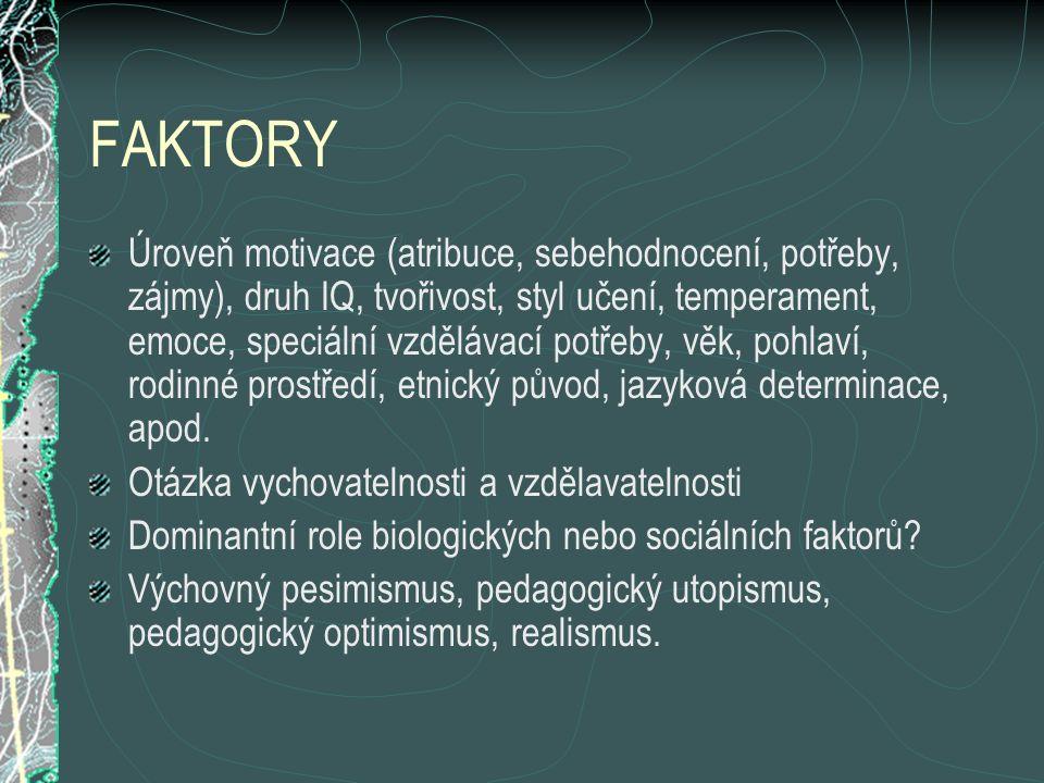FAKTORY Úroveň motivace (atribuce, sebehodnocení, potřeby, zájmy), druh IQ, tvořivost, styl učení, temperament, emoce, speciální vzdělávací potřeby, věk, pohlaví, rodinné prostředí, etnický původ, jazyková determinace, apod.