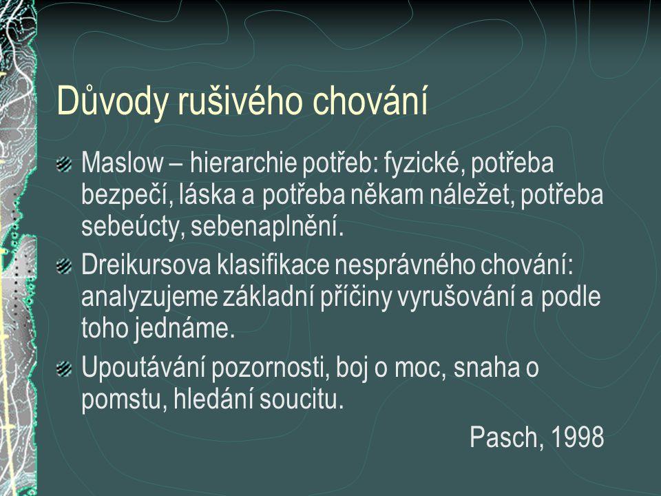 Důvody rušivého chování Maslow – hierarchie potřeb: fyzické, potřeba bezpečí, láska a potřeba někam náležet, potřeba sebeúcty, sebenaplnění. Dreikurso
