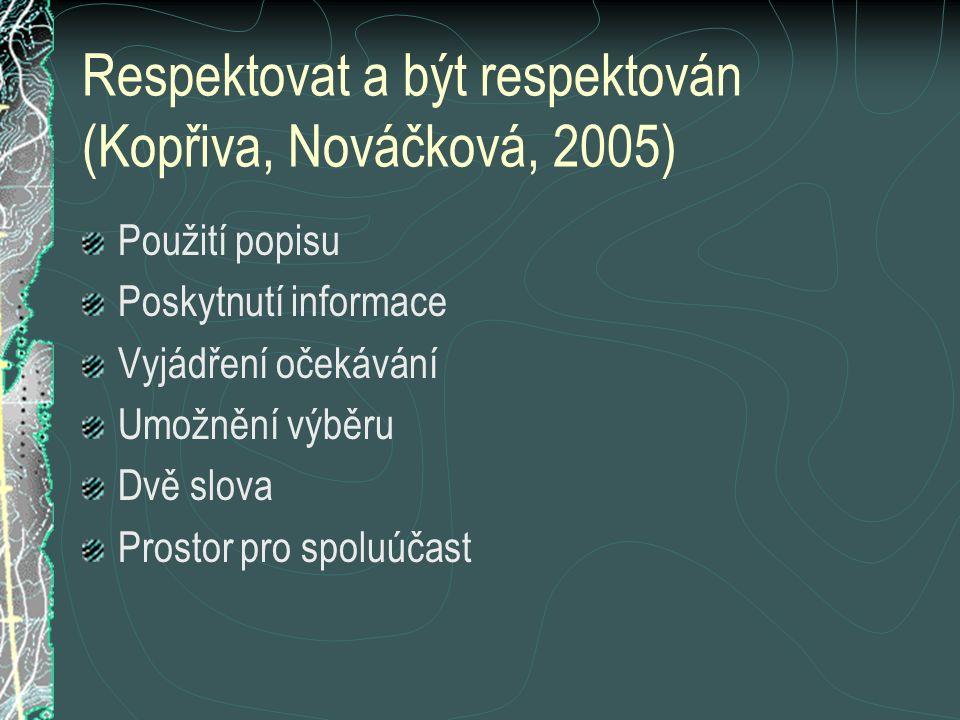 Respektovat a být respektován (Kopřiva, Nováčková, 2005) Použití popisu Poskytnutí informace Vyjádření očekávání Umožnění výběru Dvě slova Prostor pro spoluúčast