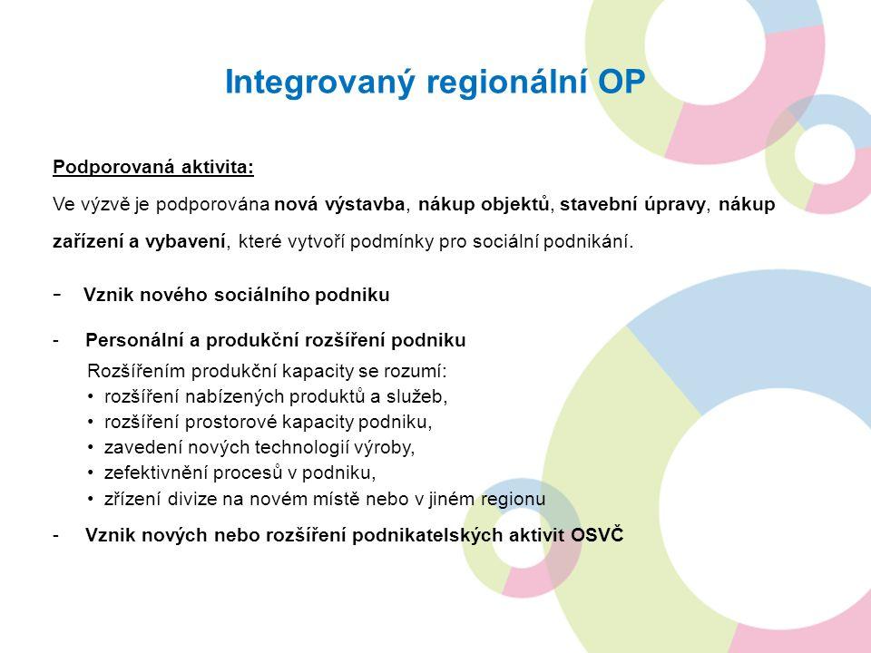 Integrovaný regionální OP Podporovaná aktivita: Ve výzvě je podporována nová výstavba, nákup objektů, stavební úpravy, nákup zařízení a vybavení, které vytvoří podmínky pro sociální podnikání.