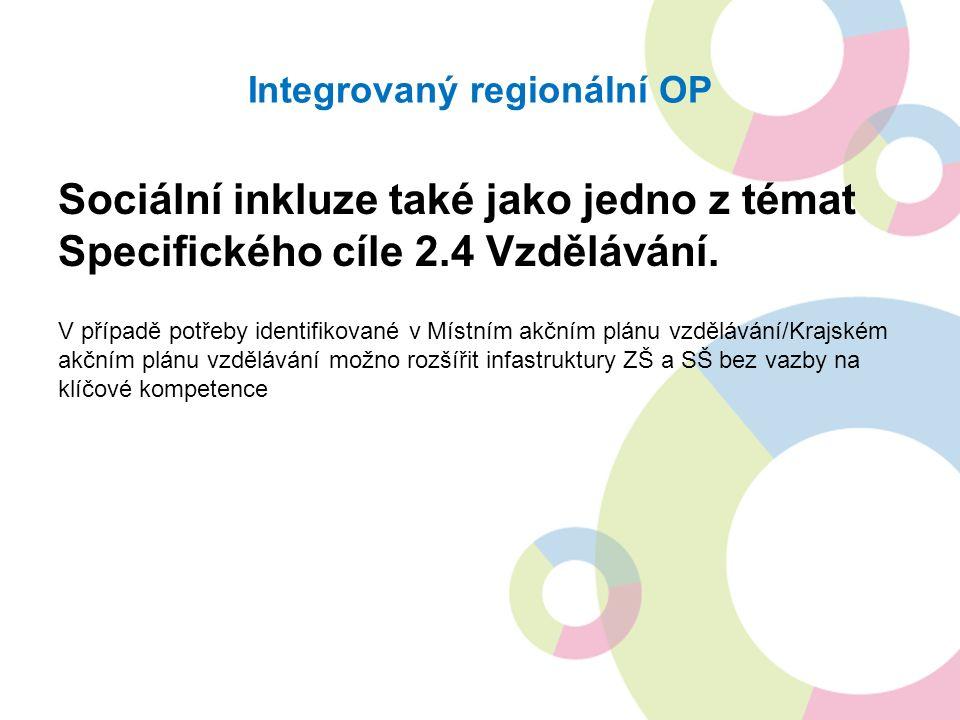 Integrovaný regionální OP Sociální inkluze také jako jedno z témat Specifického cíle 2.4 Vzdělávání.