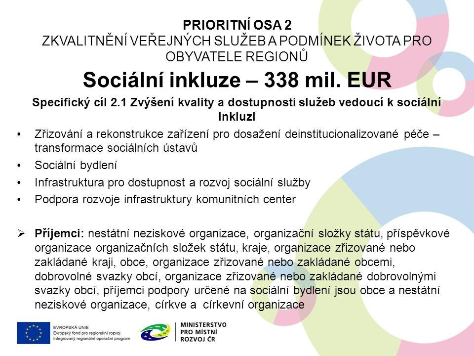 Integrovaný regionální OP DeInstitucionalizace sociálních služeb Výzva vyhlášena 30.9.2015, příjem projektů 30.10.2015 – 31.3.2016 Alokace 2 mld.